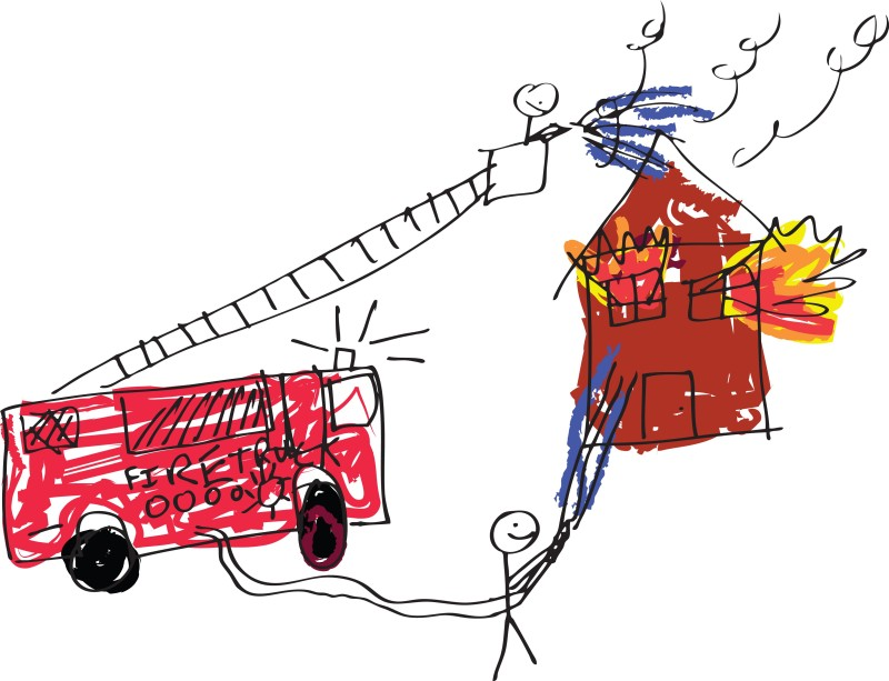 child's rendering of a fire engine