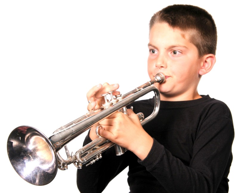 boy playing horn