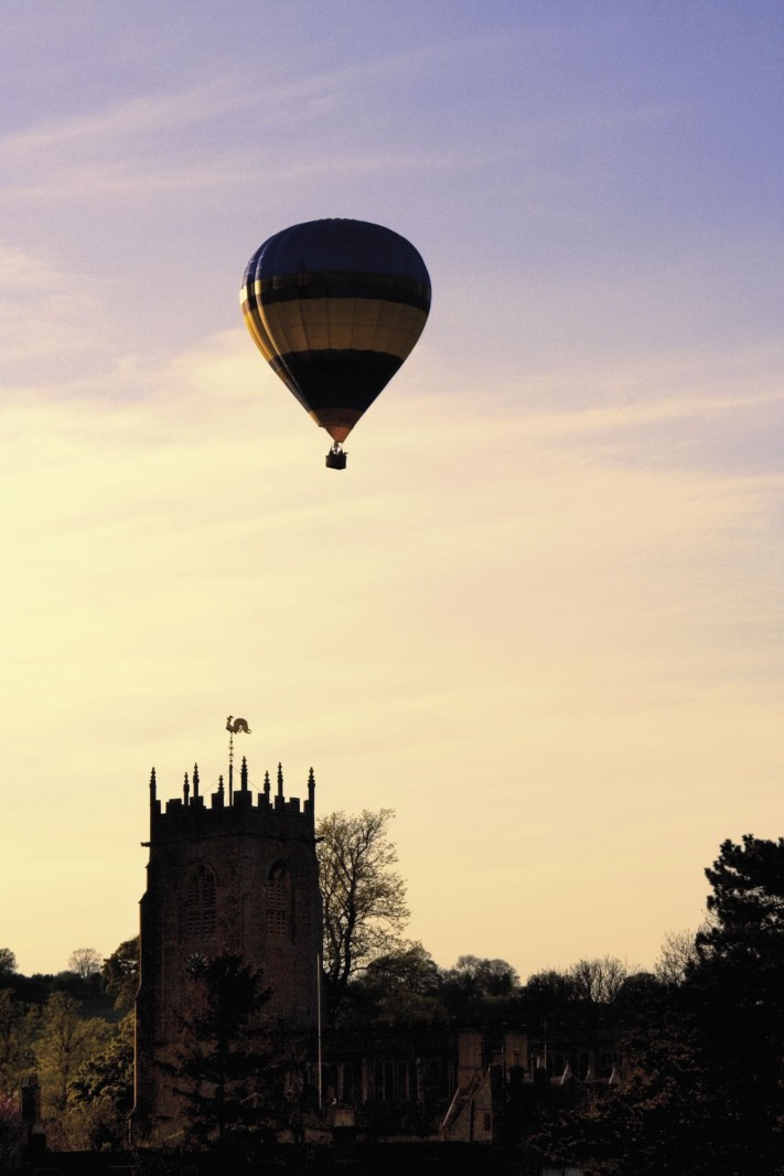 balloon over castle