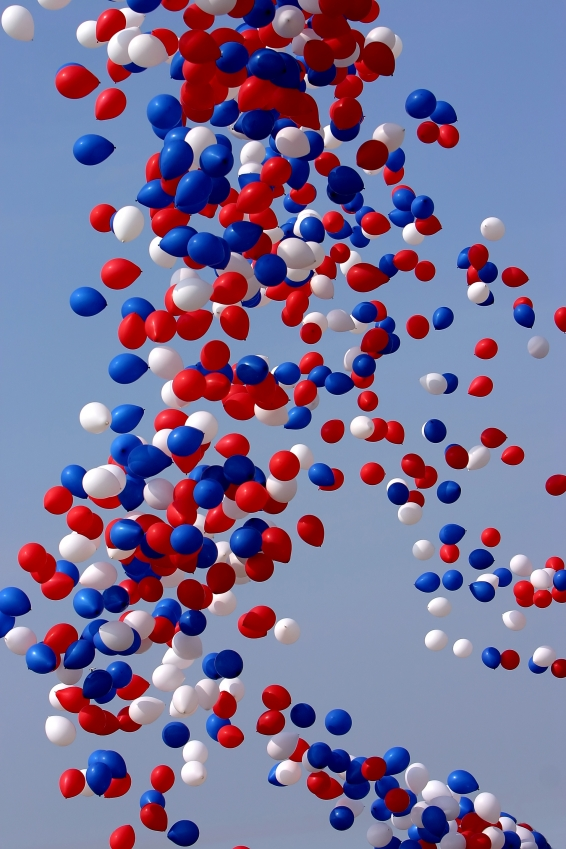 red, white, and blue balloons