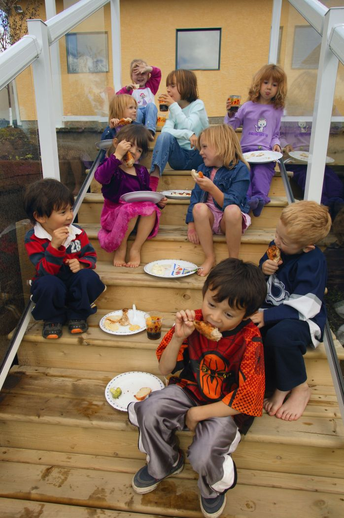 youth eating outside