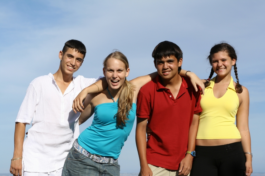 teens standing together having fun